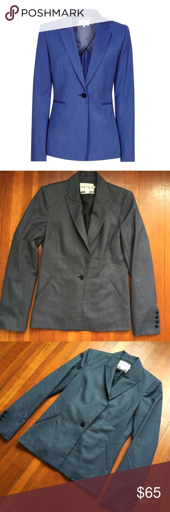 NEW - REISS - Gray / Blue Taylored Blazer Jacket REISS - Gray / Blue Button Taylored Blazer - Size 4  Color is similar to the stock photo (slightly different style blazer) it is a blueish gray, beautiful in person. A shade more gray than blue.  NEW Condition!!  Retail - $445.00  Check out my other listings!! Bundles welcome!! Thank you!!  Reiss Jackets & Coats Blazers