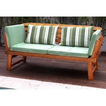 LUXO CHATSWORTH 2-IN-1 EUCALYPTUS HARDWOOD DAY BED WITH GREEN CUSHIONS DLXPDDB188