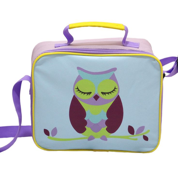 Owl Print Light Purple Lunch Bag Picnic Lunch Bags for Children Waterproof Messenger Heat Preservation Bags for Kids Lancheiras