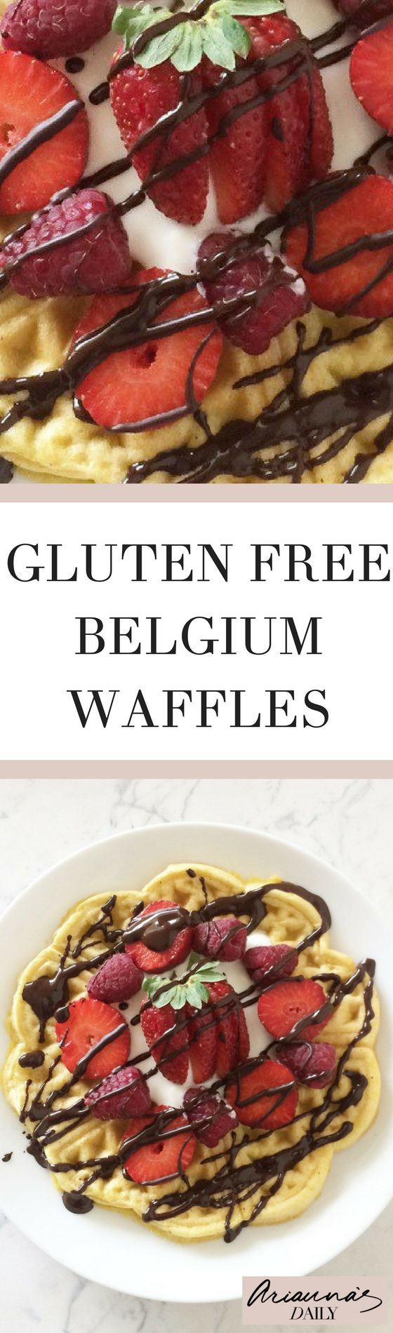 Healthy gluten free belgium waffles, which are also sugar free and dairy free. These couldn't be more delicious so click through to check out the recipe! #ariannasdaily #wafflesrecipe #healthywaffles