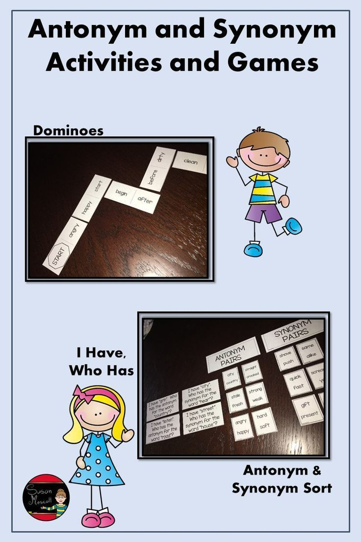 Antonym And Synonym Game Activities In 2020 With Images