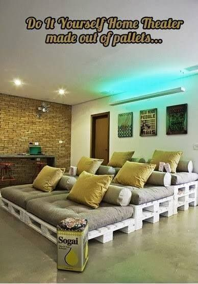 """Cheap """"home theater"""" seating on pallets"""