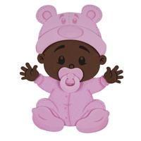 Mini Painel EVA Bebê Menina Negra com Touca