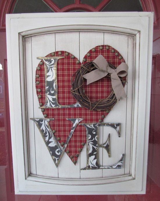 Repurposing old cabinet doors Valentine's Craft Valentines decor Valentines Wreath Homemade Chip letters