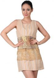 TRE Batik  TRE Batik Mini Dress Batik Without Sleeves Brown