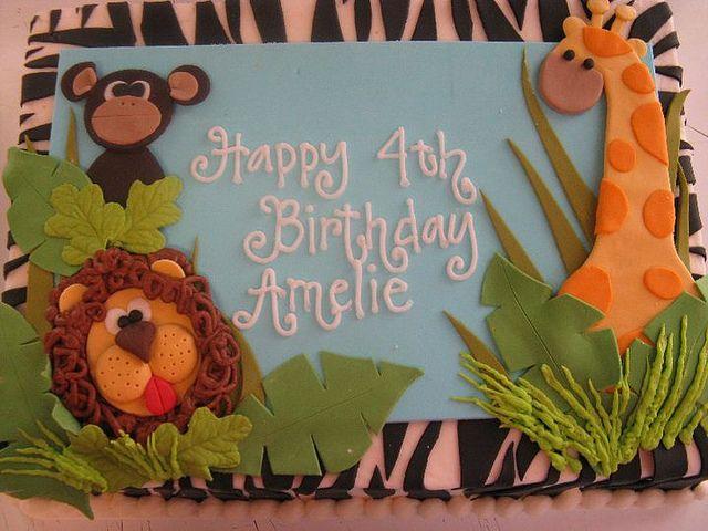 jungle theme sheet cake @Sheri | Pork Cracklins Huston