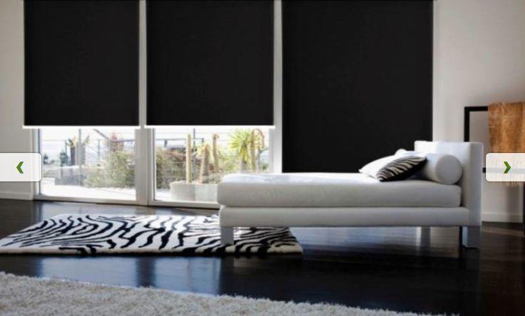 Opaque Black Blockout Roller Blinds Living Room Designs