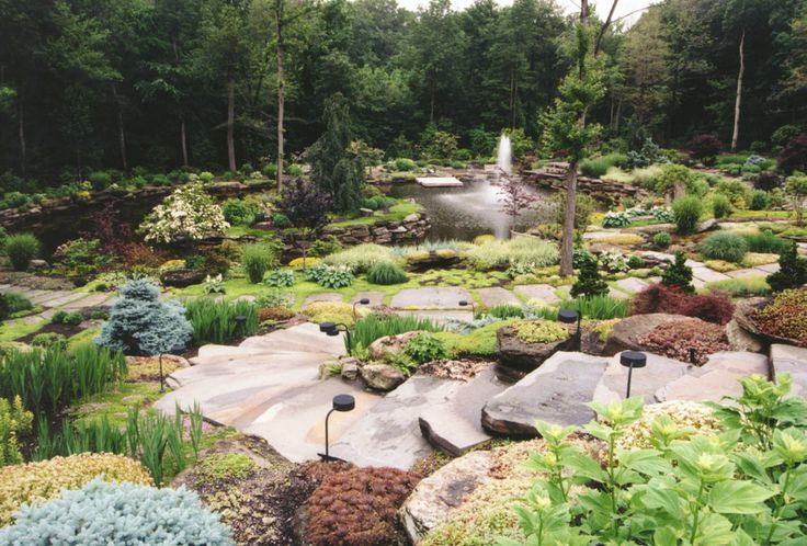 Natural Stone Staircase, Landscaping and Koi Pond in Bergen County, NJ: Natural stone staircase, backyard landscape and garden pond in Saddle River, Bergen County , NJ.