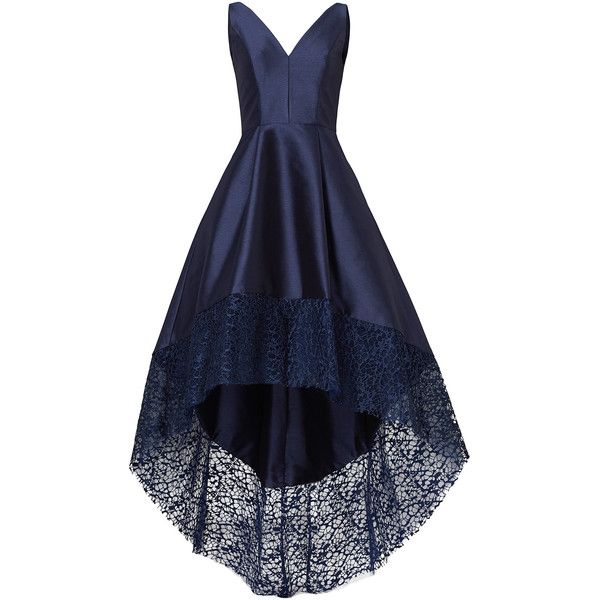 Rental ML Monique Lhuillier Navy Spiderweb Gown ($100) ❤ liked on Polyvore featuring dresses, gowns, blue, blue gown, v-neck dresses, navy gown, navy blue ball gown and navy dress