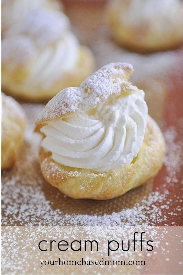 cream puffs @yourhomebasedmom.com  #desserts,#eclairs,#recipes