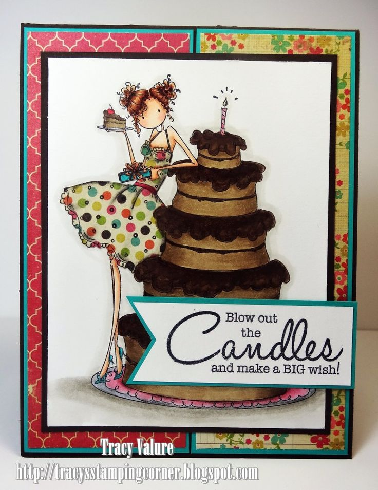 Copic card using the Stamping Bella - Bianca Loves Her Big Cake stamp.  Made by Tracy