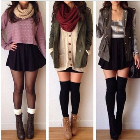 These outfits! Over the knees socks, infinity scarfs, ankle boots and mini skirts...gosto!