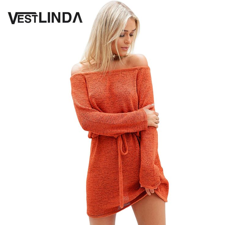 VESTLINDA Sexy Off Shoulder Knitted Sweater Dress Women Vestidos Loose Beach Dress Drawstring Waist Mini Short Dresses Big Size