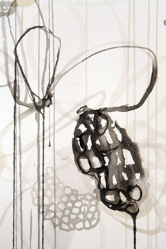Rickie Wolfe - detail-sumi ink, tea, drips painting of shadows