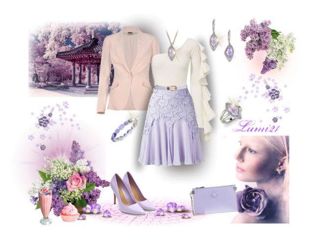 garden party with lilac by lumi-21 on Polyvore featuring Alexander McQueen, Giambattista Valli, Versace, Meira T, Anne Klein, Diamondere, Swarovski, Beaufille and Topshop