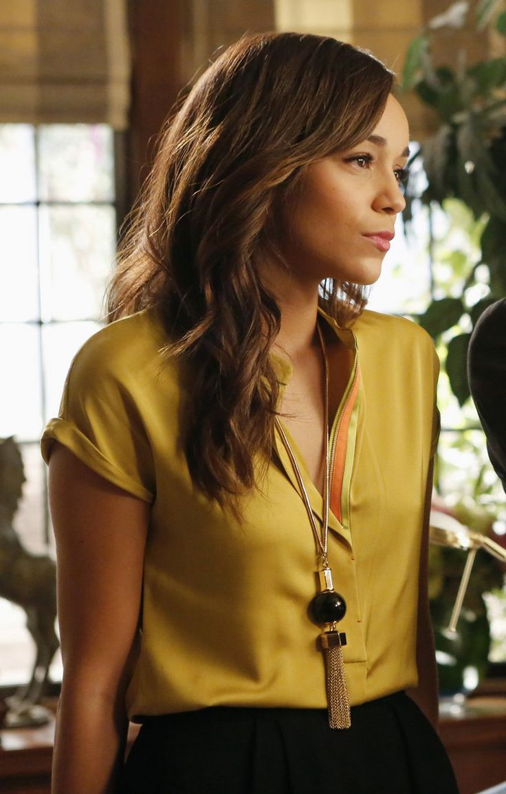 Ashley's golden yellow blouse and tassle necklace on Revenge.  Outfit details: http://wornontv.net/11254/