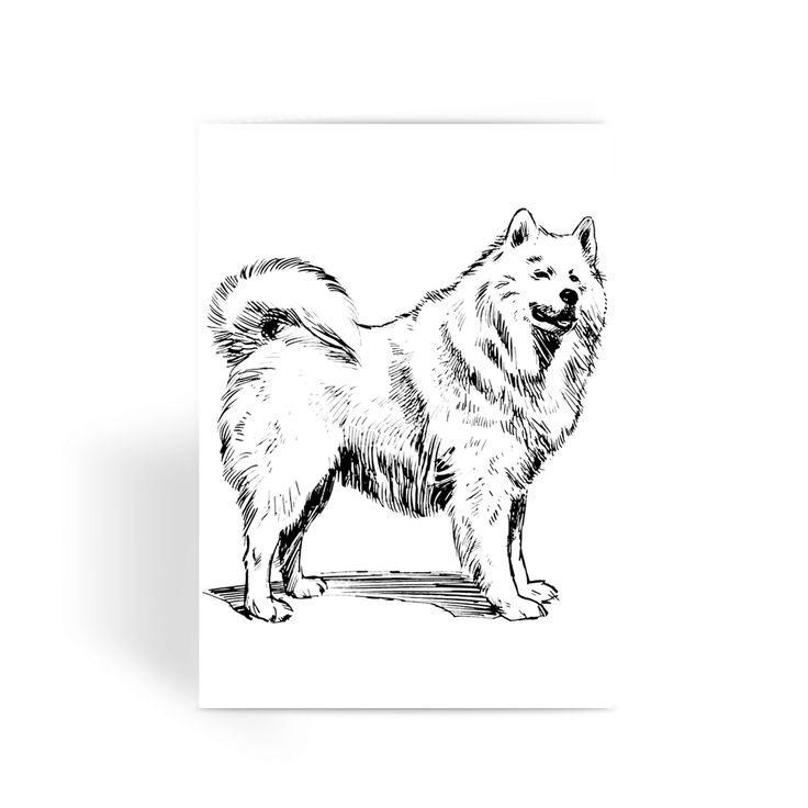 Samoyed Retro Greeting Card