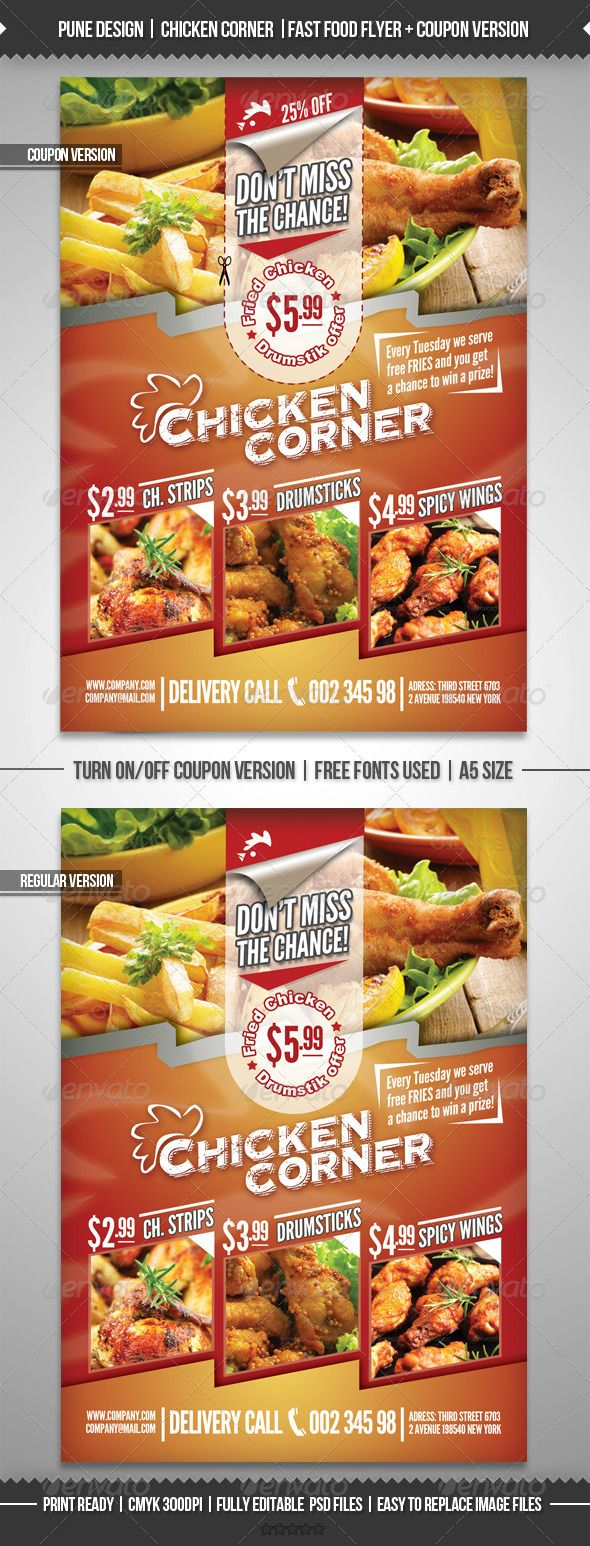 GraphicRiver Chicken Corner Fast Food Flyer & Coupon Version 2597597