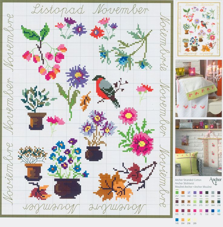 November Flowers Sampler free cross stitch pattern from www.coatscraft.pl