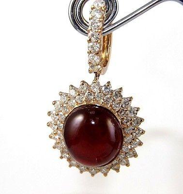 Fine Oval Red Cabochon Star Ruby & Diamond Drop Earrings 14K Rose Gold 47.01Ct in Jewelry & Watches, Fine Jewelry, Fine Earrings, Gemstone   eBay