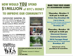 Community: 'Participatory Budgeting' sponsored by Council Member @JumaaneWilliams  by Wiz[e]™  How Would YOU Spend $1 Million of NYC's Money? PARTICIPATORY BUDGETING (PB)gives local residents the power to decide how to spend more than $1 MILLION right inour community. PB is sponsored by Council Member Jumaane D. Williams, District 45. Last year, hundreds of community residents c...  http://CLP.bkunited.com/2013/10/01/community/participatory-budgeting-sponsored