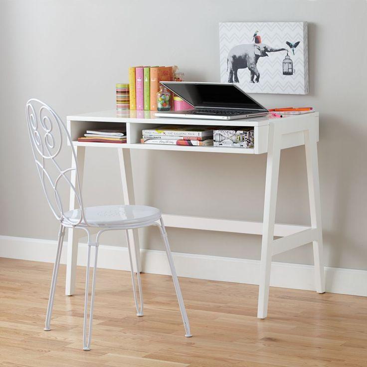 Prairie School Desk (High-gloss White)