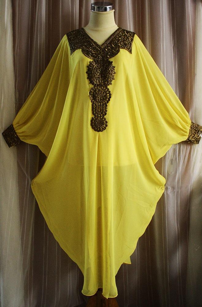 FANCY YELLOW Moroccan kaftan Dubai style embroidery abaya hijab maxi dress jalabiya. $39.99, via Etsy.