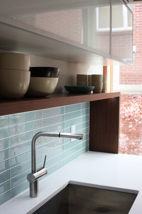 Modern Kitchen Livorno Deck Mounted Faucet, Walnut Shelf And Glass Tile  Backsplash