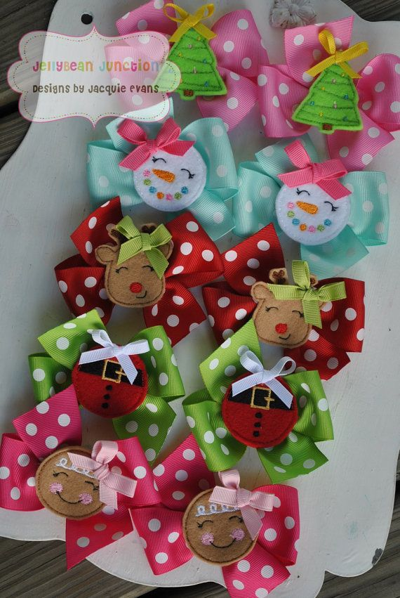 Medium Christmas Boutique Pigtail Bow Set by TheJellyBeanJunction, $7.99. Great idea for wrapping Christmas presents!!!