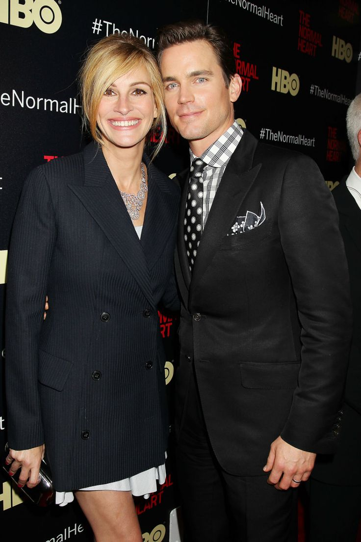 "The never-ages, Julia Roberts, and ridiculously handsome, Matt Bomer, art ""The Normal Heart"" premier, May 12, 2014"