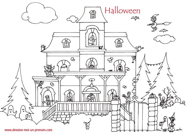 coloriage maison hantee halloween dessine moi un prenom halloween pinterest. Black Bedroom Furniture Sets. Home Design Ideas