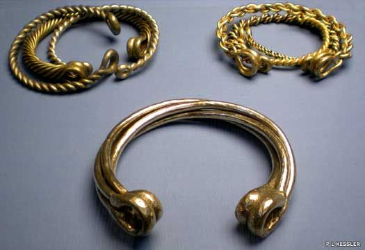 Snettisham torcs c.100 BCThe Celtic tribes were a colourful, vibrant fascinating people. Their gold and jewels and rich lands of grain were desired by the Romans who had been at peace with the southern British tribes before the invasion ....Their artwork was intricate and beautiful.....