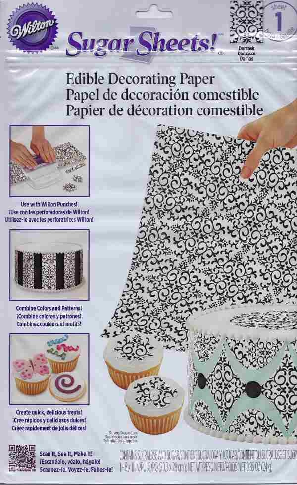 Edible Cake Decoration Sheets : Black & White Damask Sugar Sheets Edible Decorating Paper ...