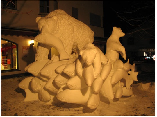bears and salmon, 2008 done in San Candido Italy