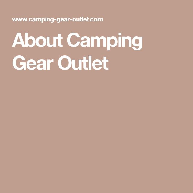 About Camping Gear Outlet