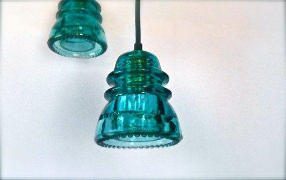 Industrial vetro isolante lampadario - pendente in vetro blu chiaro isolante leggero industriali illuminazione soffitto blu luce illuminazione della cucina