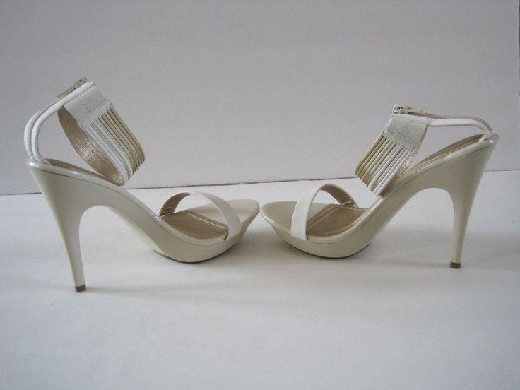 Women's Gold & Beige Strappy Heel Nwob