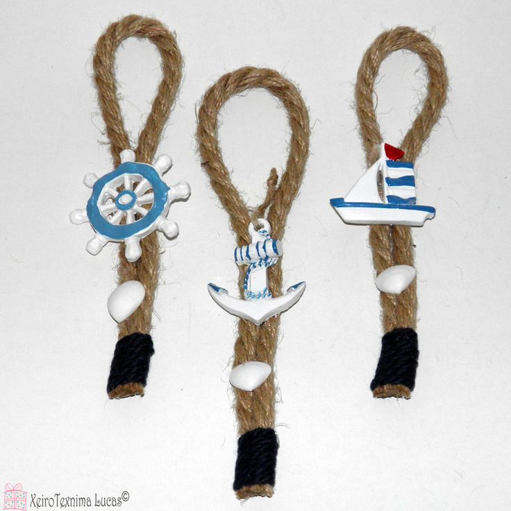 Καλοκαιρινό διακοσμητικό με κορδόνι γιούτας και ναυτικά κεραμικά στολίδια. Ιδανικό για στολισμό σε λαμπάδα. Summer decoration with jute rope and ceramic navy ornaments.