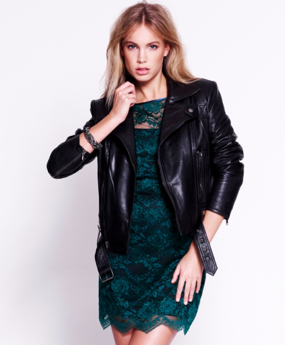 Lace shakes off its sweet reputation thanks to the addition of a tough leather jacket and a little hardware.  Shop this look!