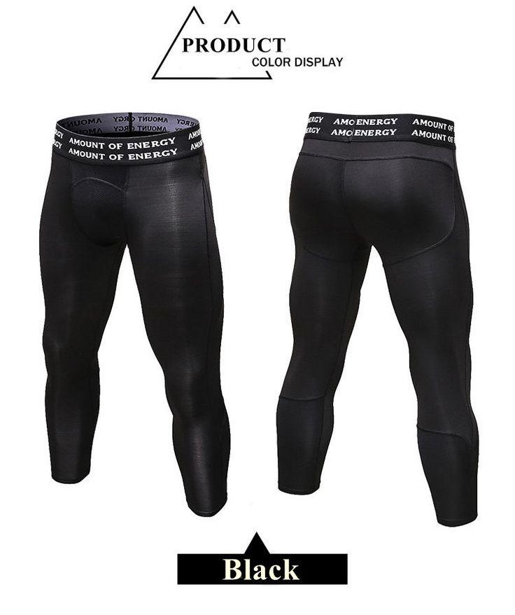 PRO Pantalons sportifs masculins à sept points Chaussures de course à pied en forme de gymnastique Pantalons extensibles à sec et à sec respirant