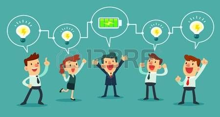 jefa divertido caricatura: exitosa de carga de baterías, su equipo de negocios hombre de negocios Vectores