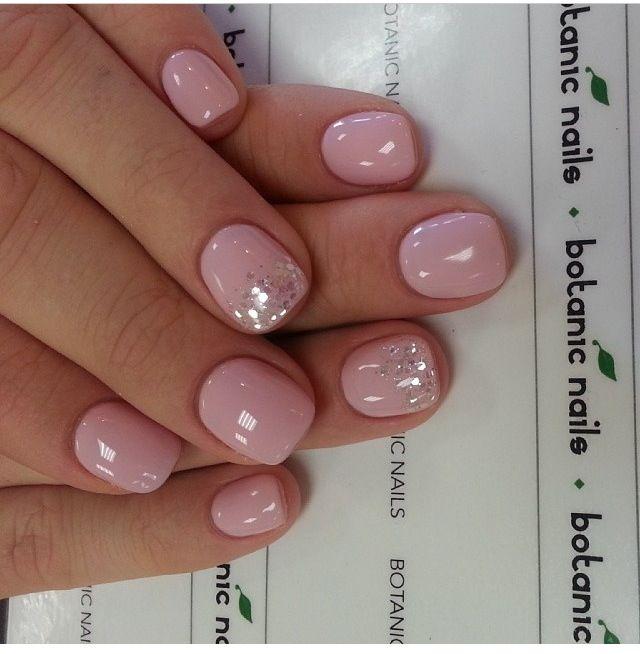 light pink glitter nails nail