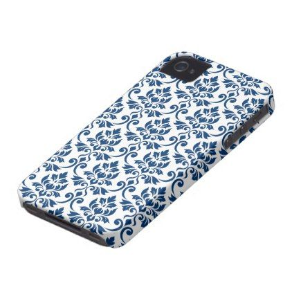 Feuille Damask Pattern Dark Blue on White iPhone 4 Cover - pattern sample design template diy cyo customize
