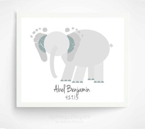 Elephant Nursery Art - Personalized Baby Footprint Art - Jungle Room, Jungle Baby Animals - Safari Nursery - Jungle Nursery on Etsy, $31.68 CAD