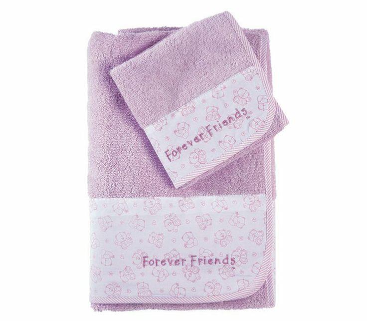 Σετ πετσέτες 2 τεμαχίων Forever Friends σε διαστάσεις 30x50 και 70x140 από 100% βαμβάκι.  Σε λιλά  χρώμα με μπορντούρα από λευκό φόντο και μοτίβο από μικρά αρκουδάκια στο τελείωμα τους, ιδιαίτερα απαλές και απορροφητικές.
