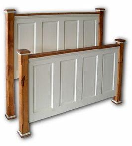 Headboard and footboard made of salvaged doors. Love!