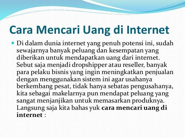 Cara Mencari Uang Di Internet Dengan Mudah Internet Internet Marketing Cara