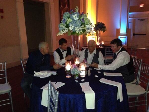 #TeamRhodes Dustin Rhodes (Goldust), Dusty Rhodes, & Ted DiBiase Jr. with Cody Rhodes after his wedding reception.