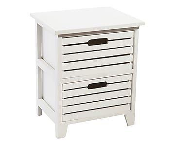 Comodino a 2 cassetti in legno bianco Madeline - 37x45x29 cm