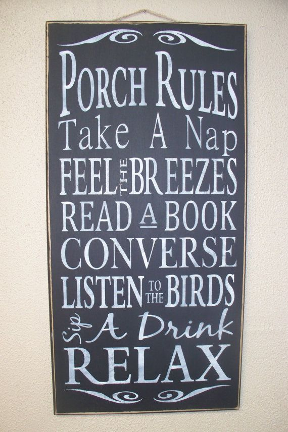 PORCH RULES - NEW!  Wood sign - hand painted - black chalk paint - large - subway art - typography - rustic -, $34.00